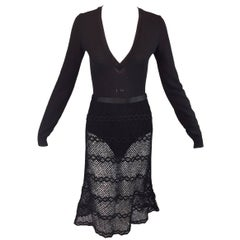F/W 1996 Runway Dolce & Gabbana Black Plunging Bodysuit & Knit Fishnet Skirt Set