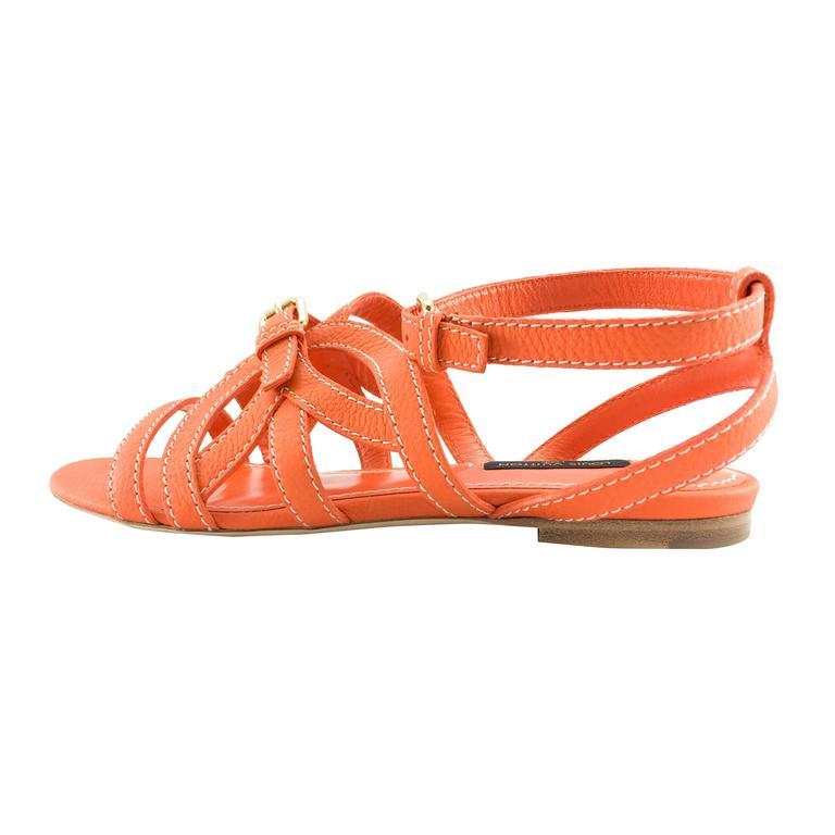 Louis Vuitton Orange Leather Flat Sandals For Sale