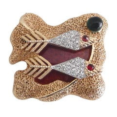 Vendome by Helen Marion Enamel and Rhinestone Brooch, 1960s