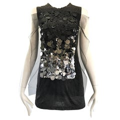 1990s Vera Wang Charcoal Gray Paillettes Tulle Sleeveless Vintage Blouse Top