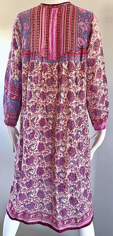 Chic 1970s Pink Purple Paisley and Flowers Ethnic Boho Hippie ...