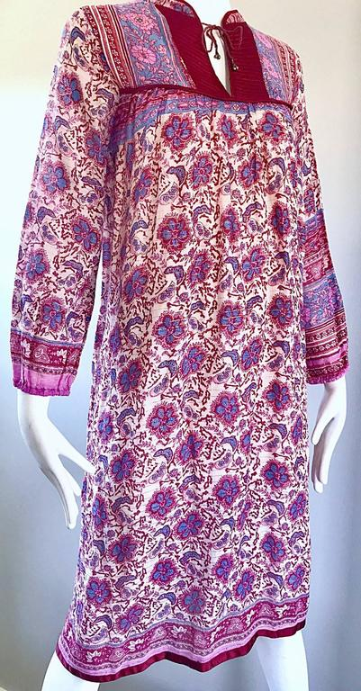 Chic 1970s Pink Purple Paisley And Flowers Ethnic Boho