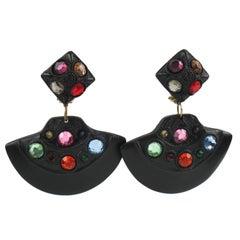 Kalinger Paris Signed Clip Earrings Dangle Black Resin Multicolor Rhinestones