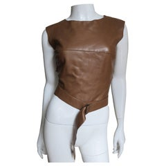 1990s Kenzo Leather Top With Wrap Belt & Cutout Back