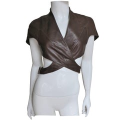 1990s Thierry Mugler Leather Caped Wrap Crop Jacket