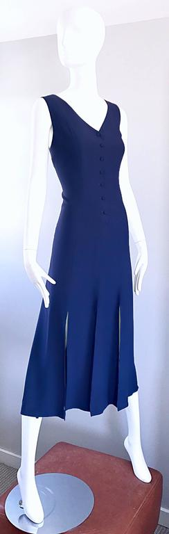 Geoffrey Beene Vintage Navy Blue Carwash Hem Sleeveless Midi Dress In Excellent Condition For Sale In Chicago, IL