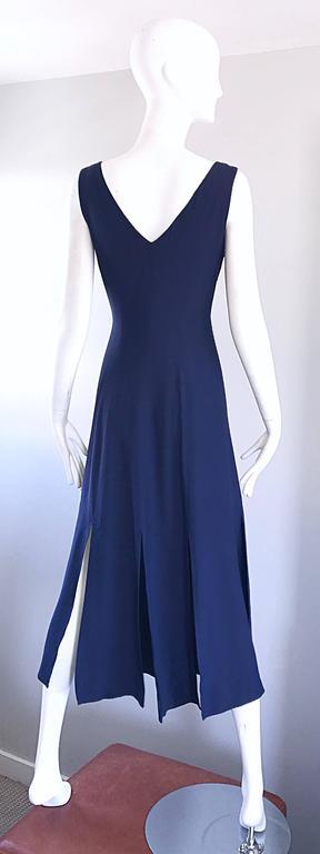 Geoffrey Beene Vintage Navy Blue Carwash Hem Sleeveless Midi Dress For Sale 1