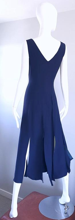 Geoffrey Beene Vintage Navy Blue Carwash Hem Sleeveless Midi Dress For Sale 2