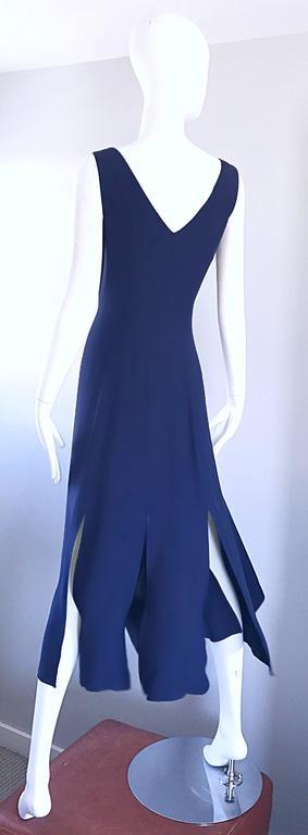 Geoffrey Beene Vintage Navy Blue Carwash Hem Sleeveless Midi Dress For Sale 3