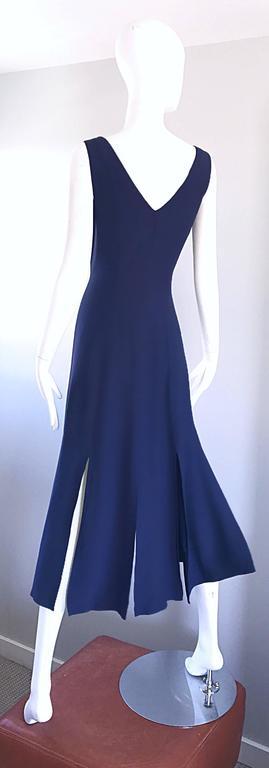 Geoffrey Beene Vintage Navy Blue Carwash Hem Sleeveless Midi Dress For Sale 4
