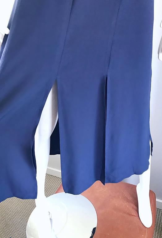 Geoffrey Beene Vintage Navy Blue Carwash Hem Sleeveless Midi Dress For Sale 5