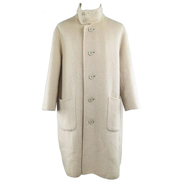 Vintage ISSEY MIYAKE 40 Cream Fuzzy Wool Blend High Collar Coat For Sale