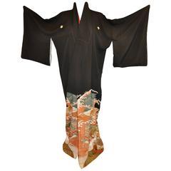 """Black  Silk """"Ocean Waves & Multi Cranes"""" Kimono"""
