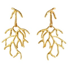 Giulia Barela Salix Earrings , gold plated bronze