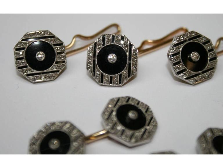 Art Deco Diamond, Platinum, 14 Karat Gold, and Onyx Dress Set In Excellent Condition For Sale In Kinderhook, NY