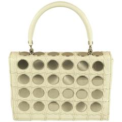 MOD and RARE 1960's Structured Purse with Round Silver Discs  SPRING!