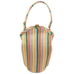 Sculptural and Colorful Purse in Silk-Linen Stripes  Summer!