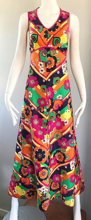 Amazing 1970s Colorful Flowers Stripes Sleeveless Vintage 70s Cotton Maxi Dress For Sale 1