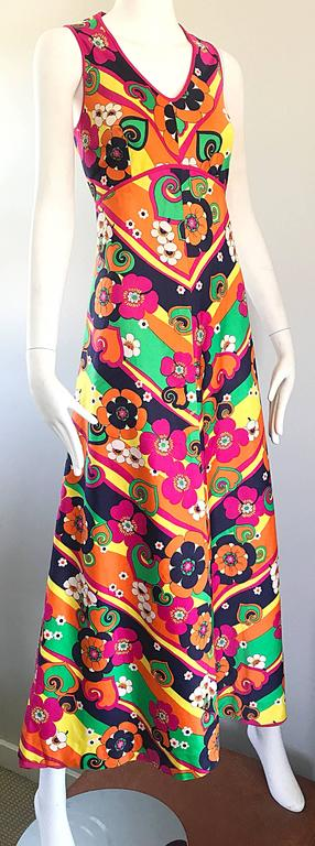 Amazing 1970s Colorful Flowers Stripes Sleeveless Vintage 70s Cotton Maxi Dress For Sale 2