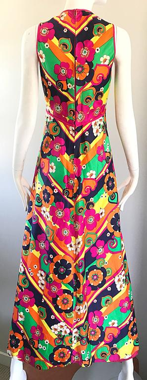 Amazing 1970s Colorful Flowers Stripes Sleeveless Vintage 70s Cotton Maxi Dress For Sale 4