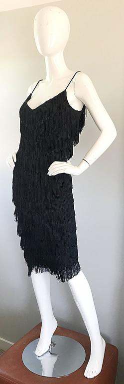 1970s Joy Stevens Fully Fringed 70s Does 20s Black Jersey Vintage Flapper Dress In Excellent Condition For Sale In Chicago, IL