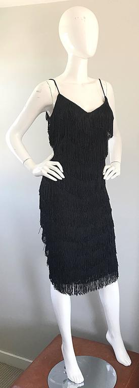 Women's 1970s Joy Stevens Fully Fringed 70s Does 20s Black Jersey Vintage Flapper Dress For Sale