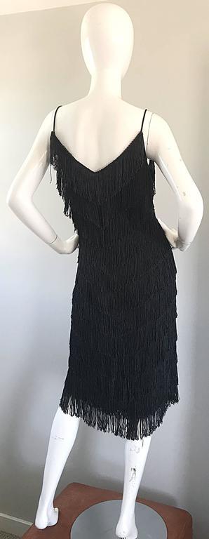 1970s Joy Stevens Fully Fringed 70s Does 20s Black Jersey Vintage Flapper Dress For Sale 1