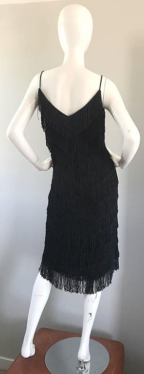 1970s Joy Stevens Fully Fringed 70s Does 20s Black Jersey Vintage Flapper Dress For Sale 2