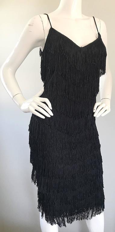 1970s Joy Stevens Fully Fringed 70s Does 20s Black Jersey Vintage Flapper Dress For Sale 3