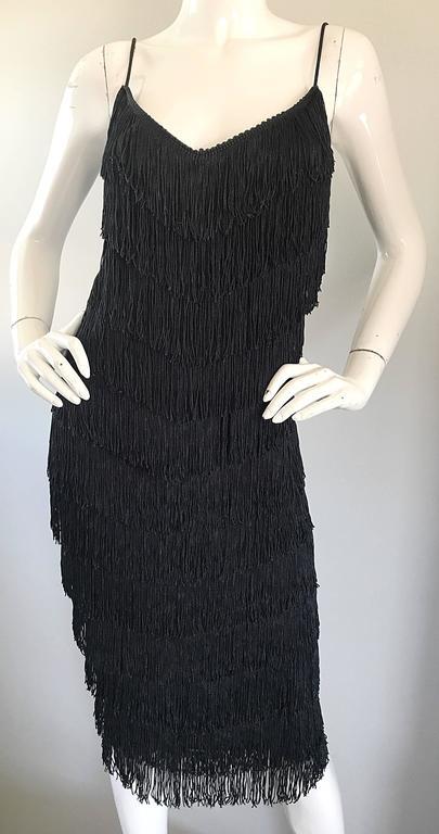 1970s Joy Stevens Fully Fringed 70s Does 20s Black Jersey Vintage Flapper Dress For Sale 4