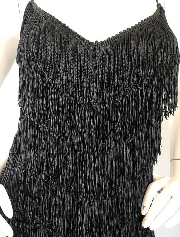 1970s Joy Stevens Fully Fringed 70s Does 20s Black Jersey Vintage Flapper Dress For Sale 6