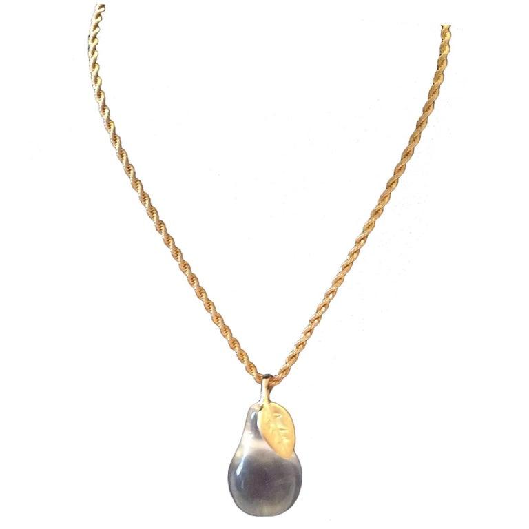 KJL Kenneth J. Lane Necklace - Lucite Pear For Sale