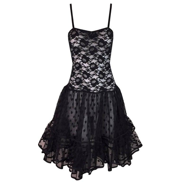 Christian Dior Sheer Black Lace Mesh Crinoline Skirt Slip Dress, 1980s