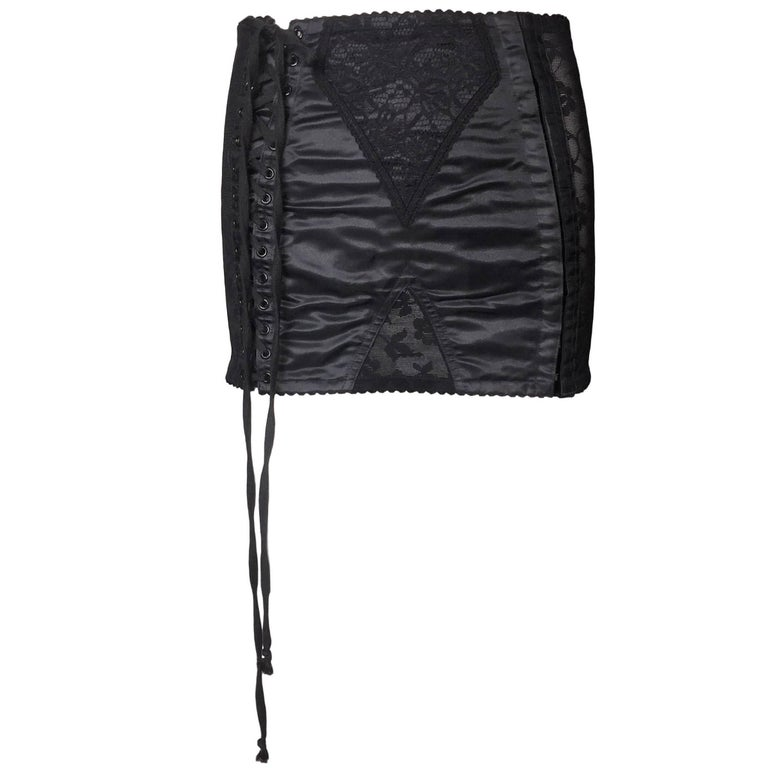 S/S 1998 Dolce & Gabbana Sheer Lace Corset Lace-up Mini Skirt For Sale