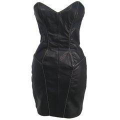 80s Michael Hoban North Beach Leather Black Lamb Skin Dress & Jacket Set