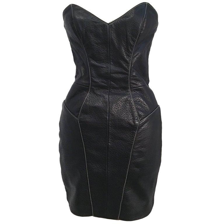 50b42f0b0e 80s Michael Hoban North Beach Leather Black Lamb Skin Dress   Jacket Set  For Sale