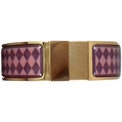 Beautiful Hermes Clic Clac Bracelet Enamel Printed Gold Hardware Size 60