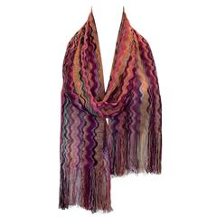 Missoni Pink Chevron Knitted Scarf with Fringe