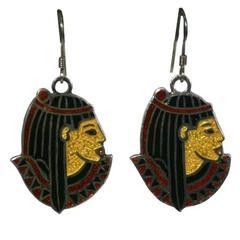 Egyptian Revival Enamel Earrings