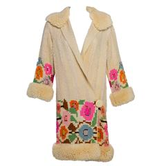 1920s French Art Deco Couture Ivory Wool and  Silk  Floral Flapper  Coat