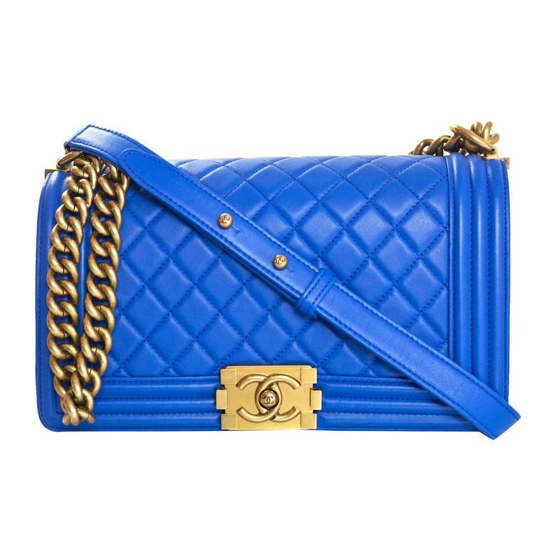 Chanel Cobalt Blue Quilted Lambskin Leather Medium Boy Bag Ghw With Box For