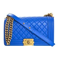 Chanel Cobalt Blue Quilted Lambskin Leather Medium Boy Bag GHW with Box