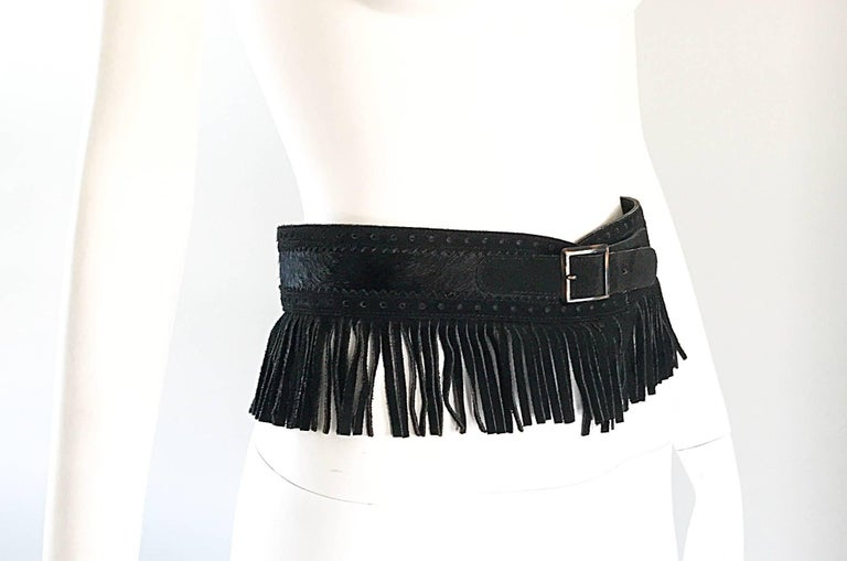 Rare Vintage Yves Saint Lauren 1970s Black Leather Suede + Calf Hair Fringe Belt In Excellent Condition For Sale In Chicago, IL