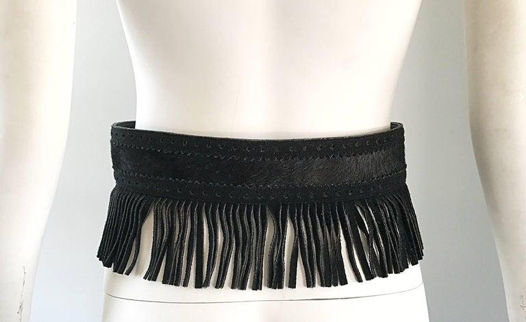 Women's Rare Vintage Yves Saint Lauren 1970s Black Leather Suede + Calf Hair Fringe Belt For Sale