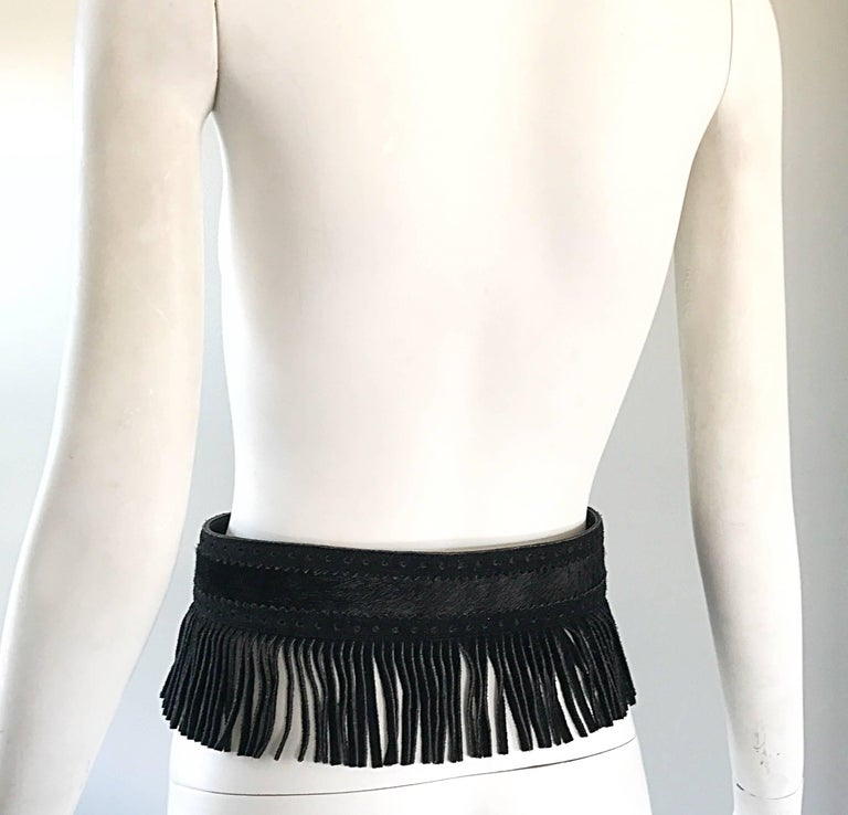 Rare Vintage Yves Saint Lauren 1970s Black Leather Suede + Calf Hair Fringe Belt For Sale 1