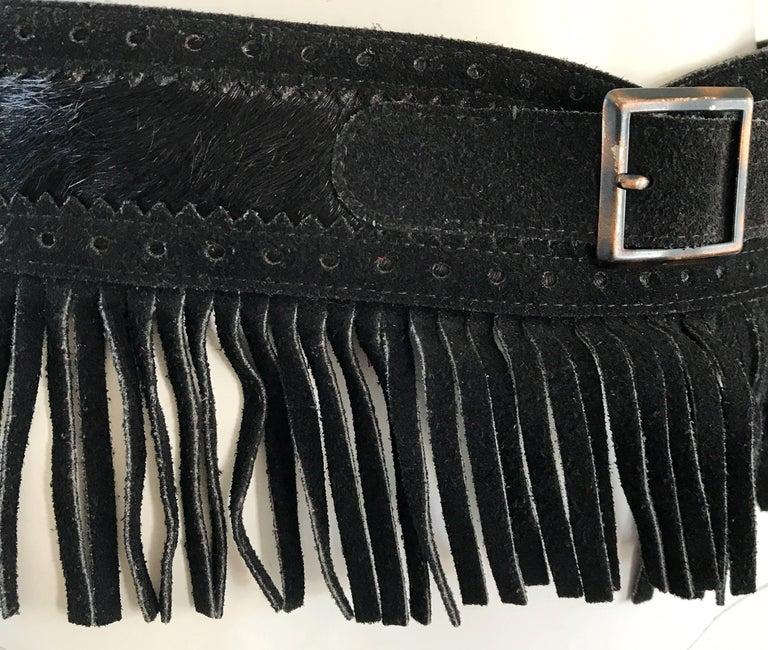 Rare Vintage Yves Saint Lauren 1970s Black Leather Suede + Calf Hair Fringe Belt For Sale 3