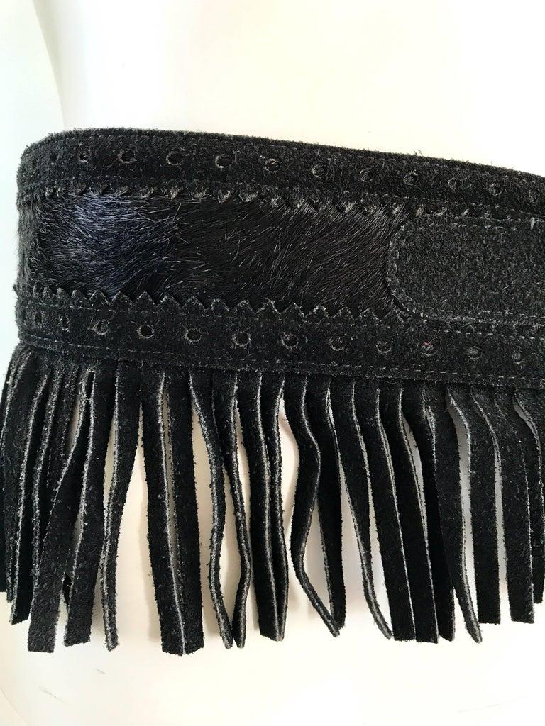 Rare Vintage Yves Saint Lauren 1970s Black Leather Suede + Calf Hair Fringe Belt For Sale 5