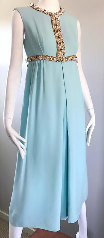 Women's Amazing 1960s Pale Blue Silk Crepe Rhinestone Beaded Cropped Culottes Jumpsuit For Sale