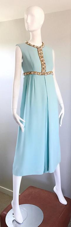 Amazing 1960s Pale Blue Silk Crepe Rhinestone Beaded Cropped Culottes Jumpsuit For Sale 1
