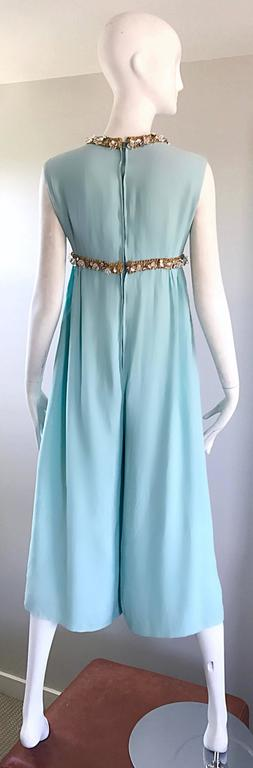 Amazing 1960s Pale Blue Silk Crepe Rhinestone Beaded Cropped Culottes Jumpsuit For Sale 2
